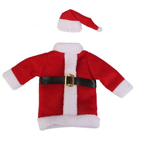 MagiDeal Natale Santa Cappello Tuta Copertura Involucro della Bottiglia di Vino Topper Decorazione Sacchetto del Sacchetto