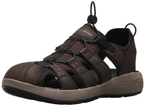 Skechers 51834', Sandalias de Punta Descubierta Hombre, Marrón (Brown Leather/Mesh/Black Trim), 43 EU