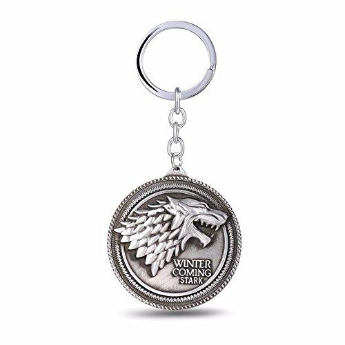 De Juego De Tronos Casa Stark Lobo Keychains Game of Thrones disfraz Prop Llaveros, plata