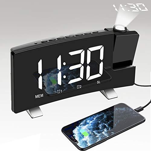 Projektionswecker - FM Radiowecker mit Projektion, Nakeey Wecker Digital Ohne Ticken, Projektionsuhr, Tischuhr mit USB-Ladebuchse, Dual-Alarm, 3 Helligkeit, Snooze, Timer, Nachttisch Schlafzimmer