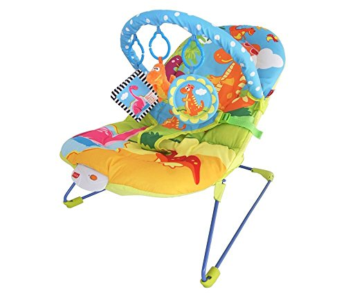 LuvLap Little Dino Baby Bouncer with Soothing Vibration and Music (Multi Color)