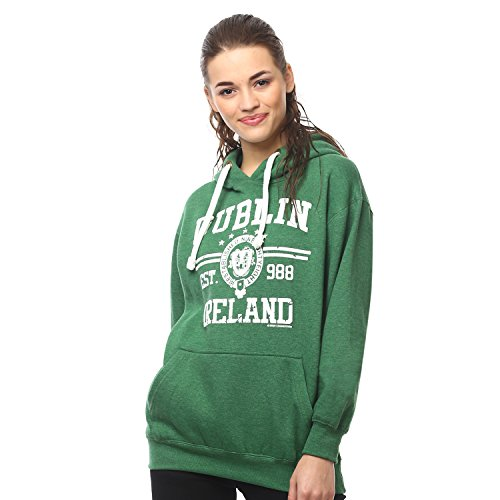 Irish Connexxion Pullover Hoodie with Dublin Ireland EST 988 Print, Green Colour