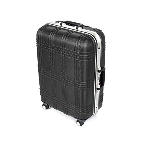 MasterGear Hartschalenkoffer mit Aluminium Rahmen in schwarz   Größe M: (67,5 x 45,5 x 26,5 cm / 55 Liter)   Koffer mit 4 Rollen (360 Grad)   Trolley, Reisekoffer, ABS, TSA, stapelbar