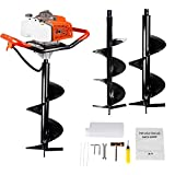 ECO LLC 63CC Heavy Duty Gas Powered Post Hole Digger with Two Earth Auger Drill Bits (10'&12')