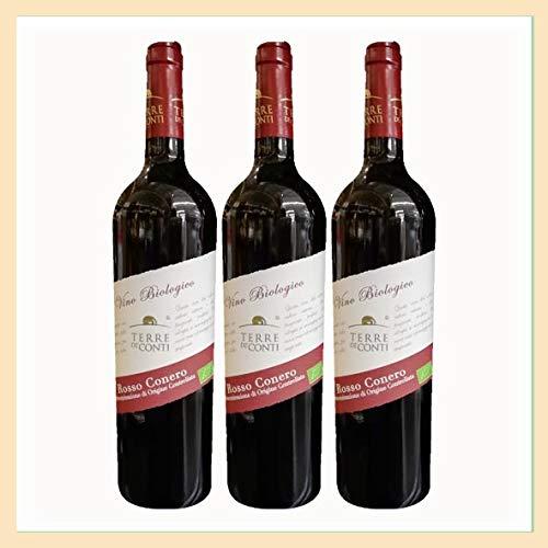 3x Vino Rosso Conero Biologico DOC, bottiglia 0,75 lt, Aziende Agricole Terre de' Conti, Ancona, prodotto tipico marchigiano, Italy