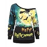 Hebe Top Women's Halloween Sweatshirt Pumpkin Long Sleeve Shirts Bat Ghost Printed Tops Pullover for Halloween Costume Party Green