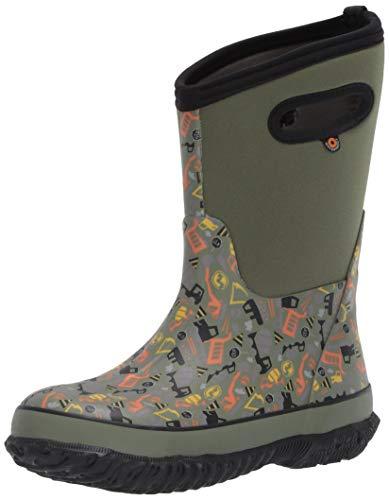 BOGS Kids Classic High Waterproof Insulated Rubber Neoprene Snow Rain Boot, Construction Print - Green, 4 M