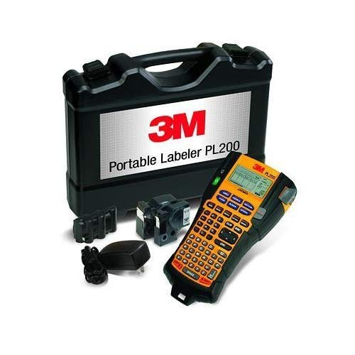 3M PL200K Portable Labeler Kit, Thermal Transfer Print, Large Font, Rechargeable Lithium-Ion, Backlit LCD Display