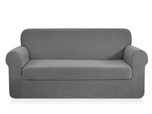 CHUN YI 2-Piece Jacquard Stretch Sofa Slipcover, Furniture Protector Cover for Sofa and Couch Polyester and Spandex 3 Seater Cushion Settee Cover Coat (Sofa, Light Gray)