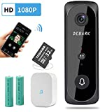 Smart Video Doorbell Wireless Home WiFi Security Camera, 1080P HD Audio Doorbell, 32G Micro SD Card, Home Security Camera with PIR Motion Detection Night Vision Two-Way Talk Real-time Video, Black