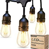 addlon LED Outdoor String Lights 48FT with 2W Dimmable Edison Vintage Shatterproof Bulbs and Commercial Grade Weatherproof Strand - UL Listed Heavy-Duty Decorative Cafe, Patio, Market Light