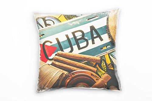 Paul Sinus Art Urban, Cuba, sigari, viaggi, marrone, blu, rosso, cuscino decorativo 40 x 40 cm per...