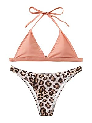 Features: Leopard print, halter top, thong bottoms, high cut bikini set with padding bra. Before Order: Please select your size based on the measurements as below. Material: Soft and comfortable, fabric has a smooth finish and great fit.Hand wash and...