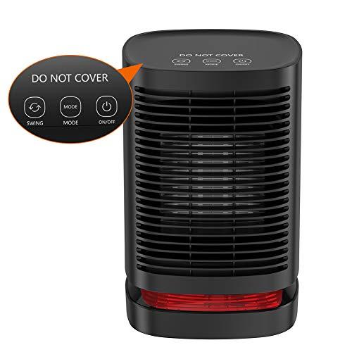 Mini Radiateur Soufflant Chauffage Électrique en Céramique, Ventilateur de Chauffage Portatif 90°d'Oscillation, 3 Mode, Protection contre la Surchauffe et le Renversement DH-QN05 pour Chambre/Bureau