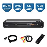 Megatek HD DVD Player for TV, HDMI Full HD 1080p Upscaling, USB Port, Plays Multi Formats, All-Region Code Free DVDs, Progressive-scan Technology, Metal Case, Compact Design, Free 5-Feet HDMI Cable