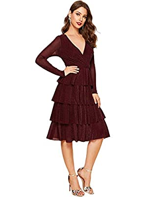 Fabric is very stretchy, elegant and fashion Features: Long Sleeve,Round neck Cocktail Dress, A Line Fit And Flare Swing Dress Women midi fashion party dress, great to pair with high heels Good for homecoming, cocktail, office, work, vocation, busine...