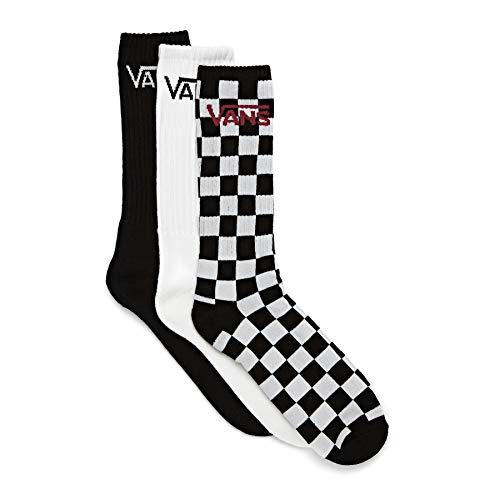 Vans Classic Crew (9.5-13, 3PK) Calzini, Black-Checkerboard, Taglia unica Uomo