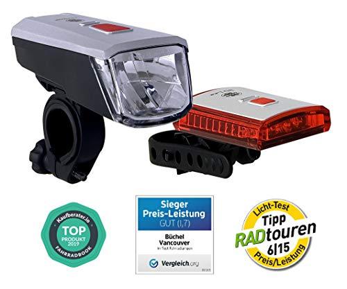 Büchel Vancouver LED Batterieleuchtenset, StVZO zugelassen, silber/schwarz, 51225460