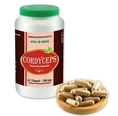 VITAIDEAL ® Cordyceps Pilz Extrakt (Chinesischer Raupenpilz) 90 Kapseln je 500mg, aus rein natürlichen Pilz Extrakten, ohne Zusatzstoffe von NEZ-Diskounter