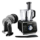 Food Processor 12 Cups Multifunctional Food Processor, Dual Lock Protection Food Chopper with LED Lights, 600W Food Processor for Mince, Slicing, Shredding, Cutting, Knead Dough