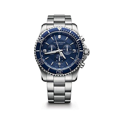 Victorinox Men's Maverick Chrono Swiss-Quartz Watch with Stainless-Steel Strap, Silver, 22 (Model: 241689)