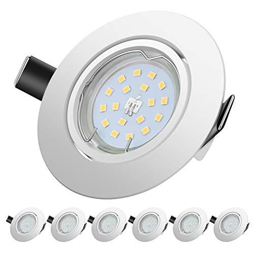 Faretti LED da Incasso per cartongesso,5 W Equivalenti a 60 W, Luce Bianco Freddo 6000K 600LM orientabili 120 Gradi AC 220-240V (Set da 6 6000K Rotonde Bianche)