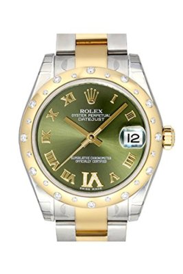 Rolex Datejust 31 Olive Green Roman Diamond Dial Steel and 18K Yellow Gold Ladies Watch 178343