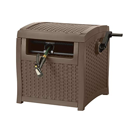 4. Suncast Resin Wicker Outdoor Hose Hideaway