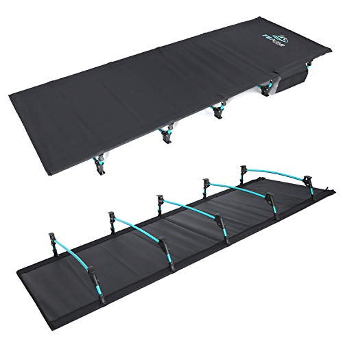 FE Active Folding Camping Cot - Lightweight, Compact, Portable Outdoor Bed Comfortable Sleeping Cots for Adults & Kids. Fits Single Air Mattress Pad. Camping, Travel, RV   Designed in California, USA