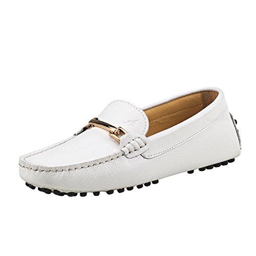 Shenduo Zapatos de cuero - Mocasines cómodos con cordones de moda para mujer D7067 Blanco 38
