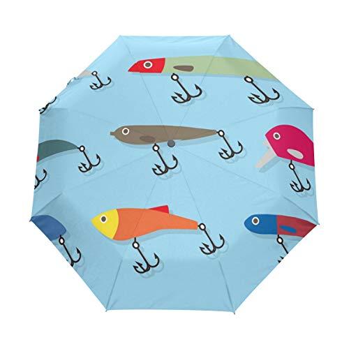 FANTAZIO - Ombrello da Viaggio a Tre Pieghe, per Esche da Pesca, Apertura Automatica, Leggero