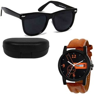 Sheomy New Arrival Special Collection of Festive Seasons Black Color Unisex UV Protected Avaitors, Aviators and Sunglasses Combo Ideal for Boys, Girls, Men, Women (3IN1-ANASUN)