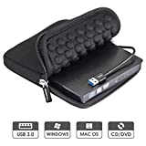 ROOFULL USB 3.0 External DVD Drive with Protective Storage Carrying Case Bag, Portable CD DVD +/-RW Drive Burner for Windows 10/8/7 Laptop Computer Mac MacBook Pro Air iMac HP Dell Asus Acer Lenovo