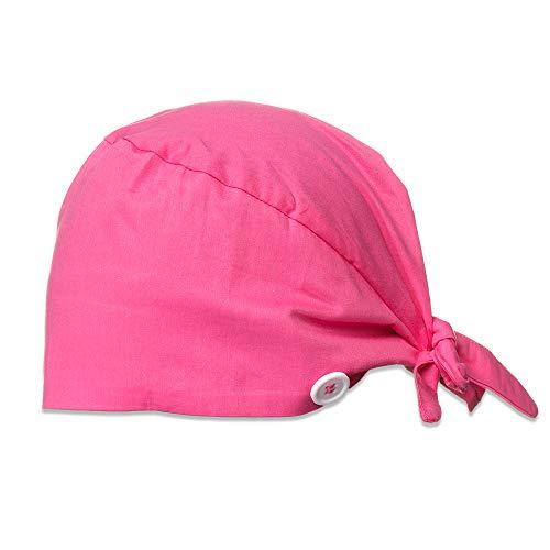 Cappello da lavoro con bottoni fascia tergisudore Bouffant Turbante Cappello regolabile Tie Back Cap Skull Beanie Head Cover Rosso rosato Taglia unica