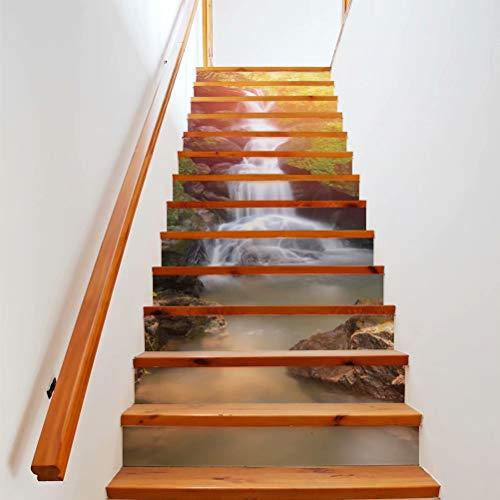 Tifege Stair Sticker Decals Waterfall 13 Piece 3D DIY Staircase...