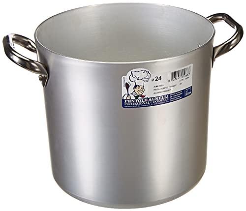 Pentole Agnelli ALMA10324 Pentola Alta con Due Maniglie Inox, Alluminio Professionale 3 Millimetri, 10 litri