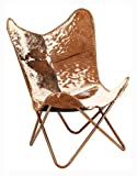 Armchair, Recliner & Sleeper Chair, Butterfly Chair Brown and White Genuine Goat Leather