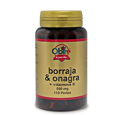 Obire   Borraja y Onagra 500 mg   Ayuda a Reducir el Colesterol y Mejora tu Piel   Alivia la Tos y otros Síntomas Respiratorios   Con Flavonoides, Ácidos Grasos y GLA   110 Perlas