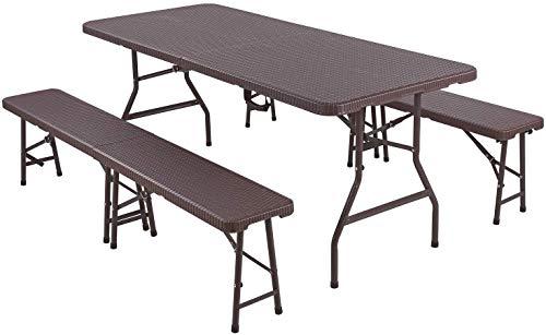 Merax Bierzeltgarnitur,3 teilig Gartenmöbel-Set,Leichtes tragbares Tisch- und Bank-Set Gartenmöbel für Camping, Picknick, Grill (braun)