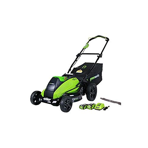Greenworks 19-Inch 40V Cordless Lawn Mower with Extra Blade, (1) 4Ah (1) 2Ah Batteries and Charger Included 2500502