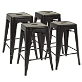 FDW Metal Bar Stools Set of 4 Counter Height Barstool Stackable Barstools 24 Inch 30 Inch Indoor Outdoor Patio Bar Stool Home Kitchen Dining Stool Backless Bar Chair (Black, 24')