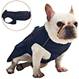 Pro Plums Dog Raincoat Adjustable Lightweight Jacket with Reflective Straps Buckle and Harness Hole Best Gift for Large Medium Small Puppy Dog(Navy Blue,M)