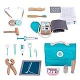 17 piezas Juego de herramientas de doctor de simulación, Caso del médico infantil, Maletín de madera para doctor, Bolsa de doctor, Juguete del doctor, Juego de roles para dentistas pequeños