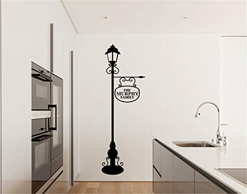 Ziues Quotes Vinyl Wall Art Decals Saying Words Removable Lettering Personalised Lamp Post with Family Name for Living Room Bedroom