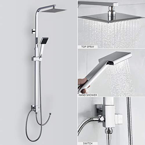 (Duschset ohne Wasserhahn) Duscharmatur Regendusche Duschbrause Duschsystem inkl. Kopfbrause Handbrause Shower Set, Höhenverstellbar 88~125cm