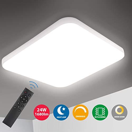 Oeegoo LED Deckenleuchte Dimmbar, 24W 1680Lm led Deckenlampe dimmbar mit fernbedienung, Lichtfarbe und Helligkeit einstellbar, Flimmerfreie Wohnzimmerlampe, Schlafzimmerlampe, Kinderzimmerlampe
