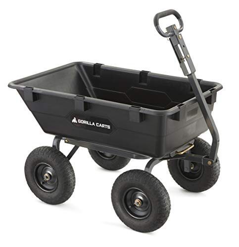 Gorilla Carts Heavy-Duty Poly Yard Dump Cart | 2-In-1 Convertible...
