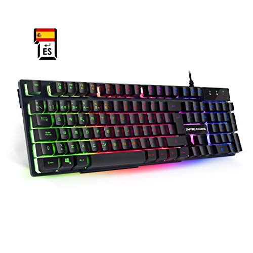 EMPIRE GAMING Teclado de PC Empire K300 QWERTY– 105 Teclas Semi-mecánicas con 19 Teclas Anti-gosthing 12 accesos directos Multimedia Retroiluminación LED RGB