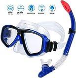 AIMTOP Masque et Tuba de Plongée Étanche Imperméable Réglable, Set de Snorkeling Set de Plongée pour Enfant Adultes, Masque de Plongée pour Sports Aquatiques, Natation, Snorkeling