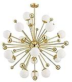 BOKT Sputnik Chandelier 18 Lights Mid-Century Modern Chandelier Lighting Golden Sputnik Pendant Light Industrial Ceiling Light Fixture for Kitchen Dining Room Living Room (18-Lights)